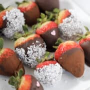 close up of sugar free chocolate covered strawberries