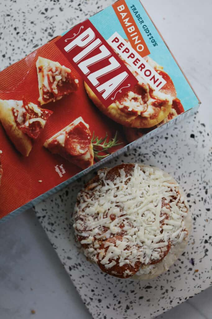 small frozen pizza in the air fryer, any brand will work for the recipe