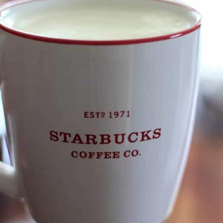 iced matcha green tea latte in a mug