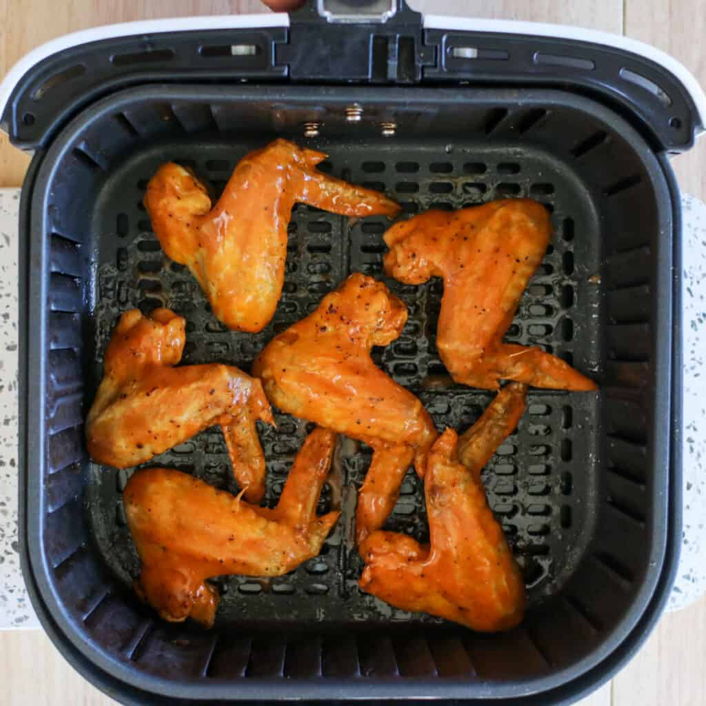 cooking air fry whole chicken wings in the air fryer basket