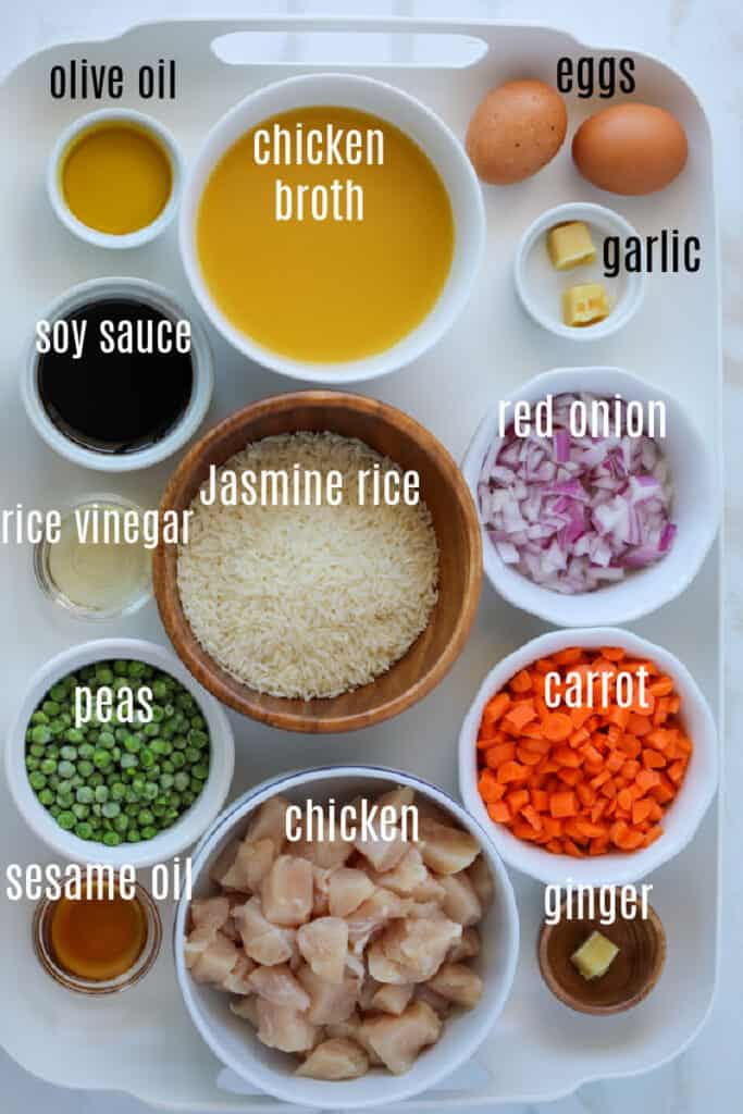air fryer fried rice ingredients on a tray
