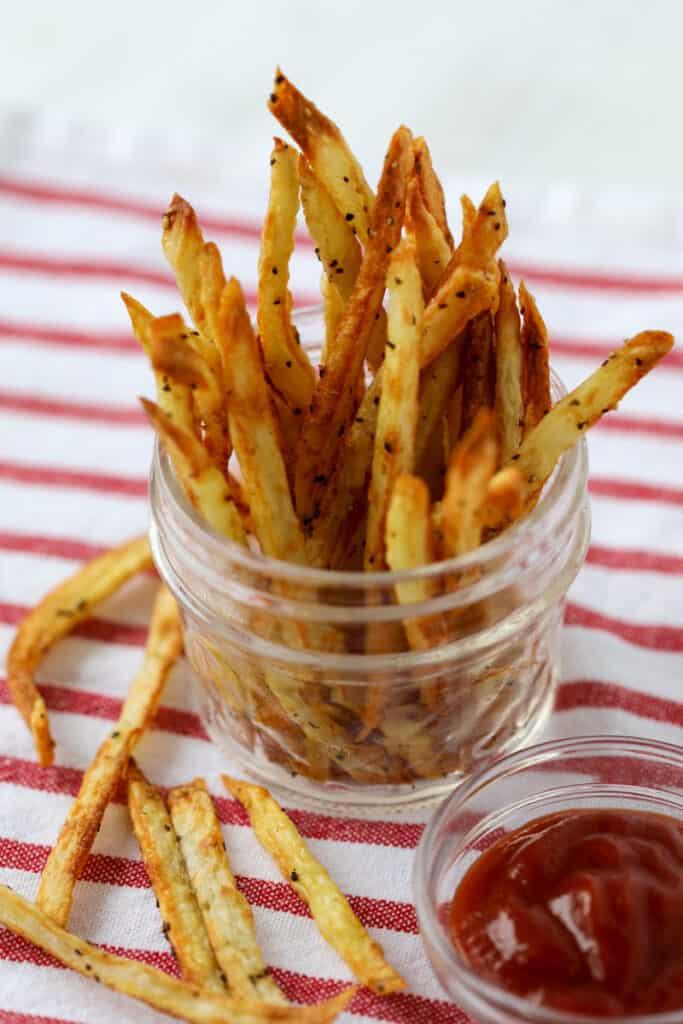 air fryer hand cut fries seasoned after cooking