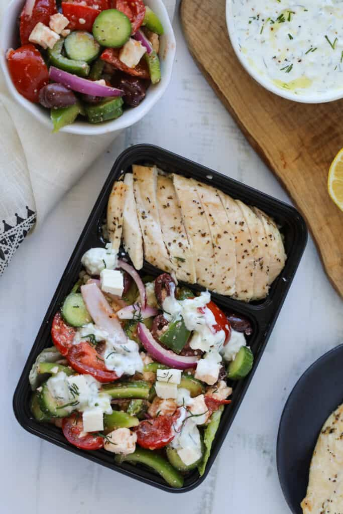 Greek salad bowl in meal prep containers
