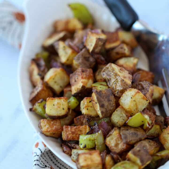 air fryer home fries with onions and peppers