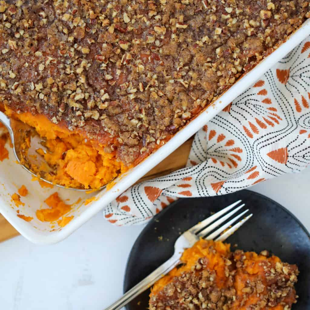 pressure cooker sweet potato casserole close up image with a serving on a plate